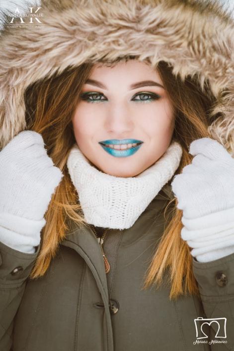 niebieski makijaż modelka Olga Budzeń, fot. Mariusz Miśkiewicz